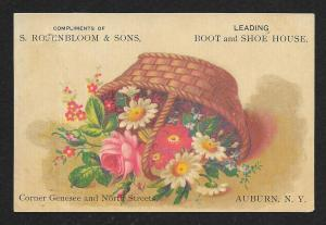 VICTORIAN TRADE CARD Rosenbloom & Sons Boots & Shoes