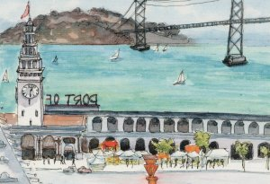 Hyat Regency Hotel San Fransisco California Sketch Painting Postcard