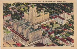 Michigan Detroit Air View Of General Motors Fisher Building & Art Center Buil...