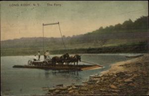 Long Eddy NY Ferry Boat & Horses c1910 Postcard