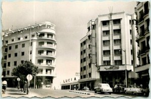 Vintage TANGIER, Morocco RPPC Real Photo Postcard HOTEL REMBRANDT Street View