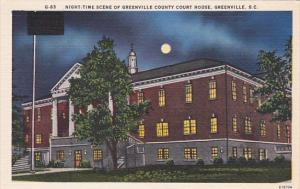 Night-Time Scene of Greenville County Court House,  Greenville,  South Caroli...