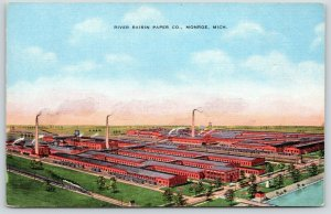 Monroe Michigan~River Raisin Paper Co~Factory Birdseye~We Go Right By~1940 Linen