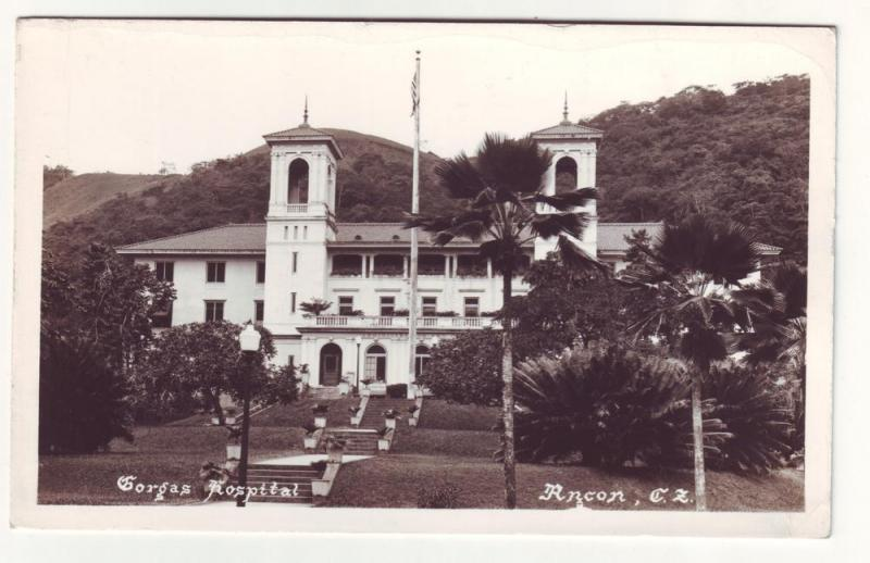 PC55 JLs old real photo postcard gorgas hospital panama