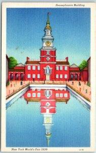 1939 New York World's Fair Postcard Pennsylvania Building Linen Unused