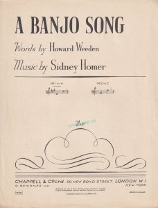 A Banjo Song Sidney Homer Howard Weedon Olde Sheet Music