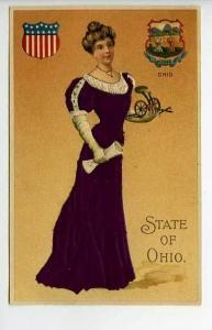 Silk Embossed Langsdorf State Girl Ohio Postcard