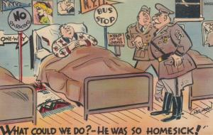 Comic Military; PU-1942; Homesick Soldier in bed