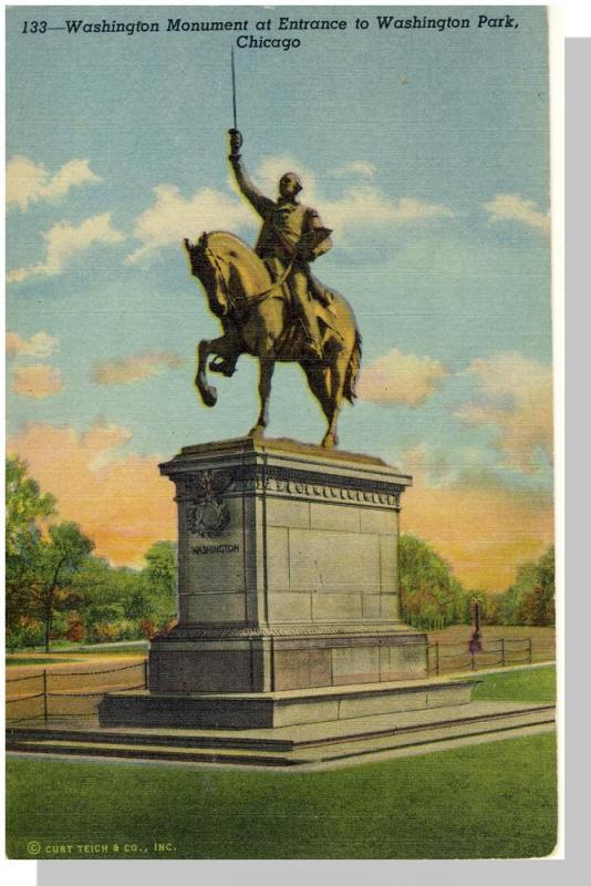 Nice Chicago, Illinois/IL Postcard, Washigton Park Monument