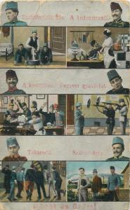 Hungary WW I military life in army soldiers uniforms vintage postcard