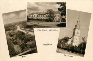 Szeghalom Peter Andras School Church & panorama 1940s postcard