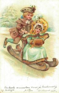 Romantic - Couple On Sled - Postcard - 02.48
