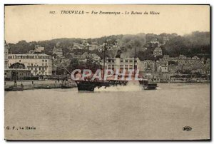 Old Postcard Trouville Panoramic Harbor boat