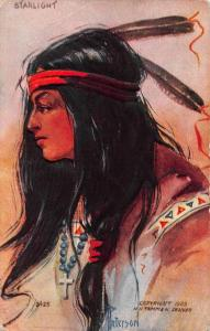 Native Americana Indian Woman Starlight Peterson Artist Signed Tammen PC J68678
