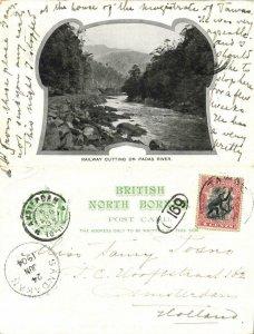british north borneo, SABAH, Railway Cutting on Padas River (1904) Postcard