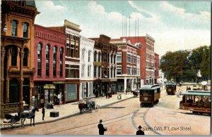 View of Glen Street Trolley Streetcars Glens Falls NY Vintage Postcard R19