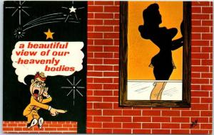 1950s Comic Postcard Peeping Tom Humor Beautiful View of Our Heavenly Bodies