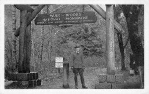 MUIR WOODS National Monument Marin County Ranger c1940s Vintage Postcard