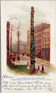 Indian Totem Pole Seattle WA Indigenous Carving 1904 Lowman Hanford Postcard E42