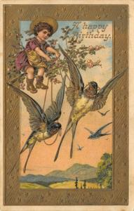 Fantasy~Barnswallows Fly Little Girl on Blossom Branch~Emboss Gold Border~1910