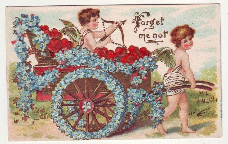 PC32 JL postcard old pc hearts flowers wagon cupid embossed, forget me not