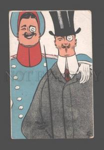 080826 Men & BILLIARDS cue Vintage ART NOUVEAU PC