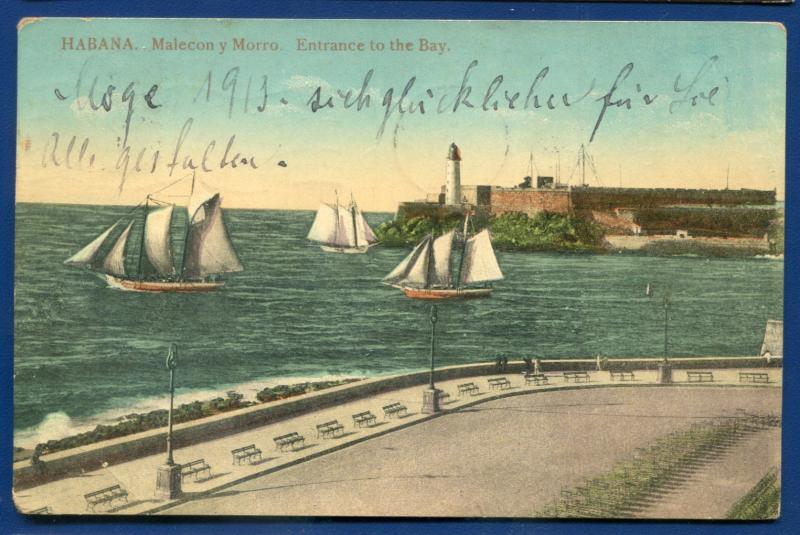 Habana Havana Cuba Malecon Y Morro Entrance to the bay Lighthouse postcard