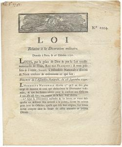 France - 1791 Legal Brief Re: Military Decoration