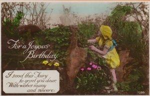 Fairy Angel Fairies & Child Real Photo Greetings Birthday Postcard