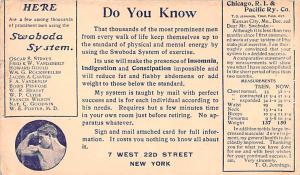 Medicine Advertising Old Vintage Antique Post Card Swoboda System 1909