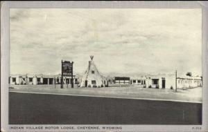 Cheyenne WY Indian Village Motor Lodge Postcard