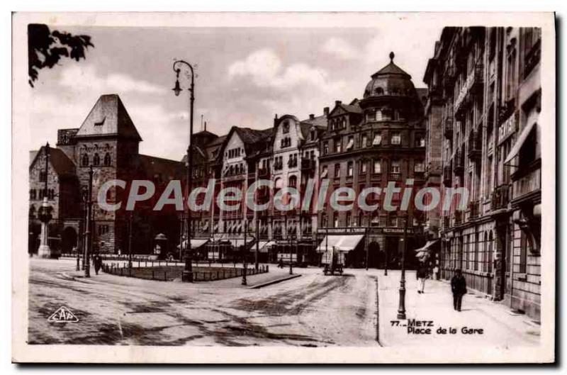 Old Postcard Metz Place De La Gare