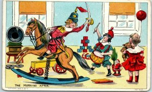 Vintage Toys Postcard THE MORNING AFTER Toy Horse Phonograph Teddy Bear 1914