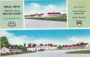 North Carolina Jacksonville Circle Drive Motor Court 1956
