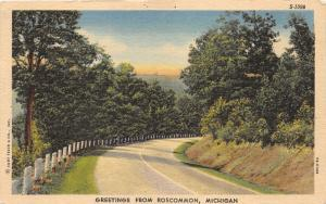 Roscommon Michigan~Looking Down Turn on Country Road~1947 Postcard