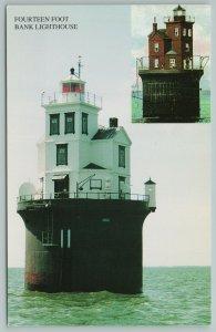 Delaware Bay DE~Fourteen Foot Bank Lighthouse~Vintage Postcard