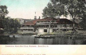Commercial Men's Boat Club, Riverside, Sioux City, Iowa ca 1907 Vintage Postcard