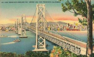 Postcard San Francisco Oakland Bay Bridge California