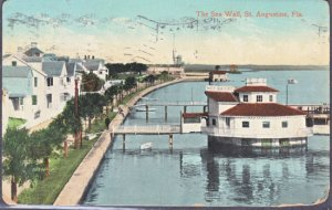 St Augustine FL -  Wonderful view along the SEA WALL, 1910s