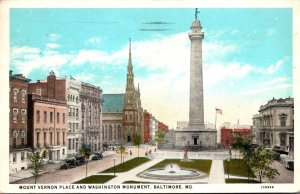 Maryland Baltimore Mount Vernon Place and Washington Monument 1928 Curteich