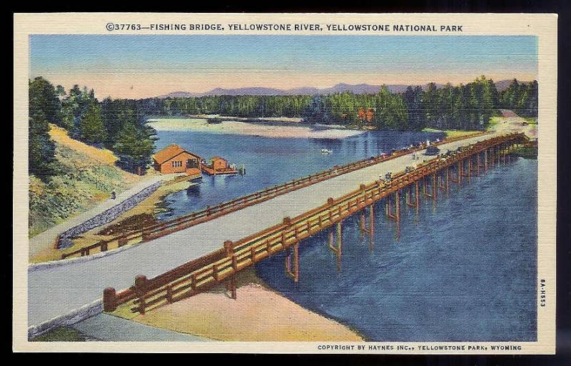 New Fishing Bridge Yellowstone Park River unused c1938