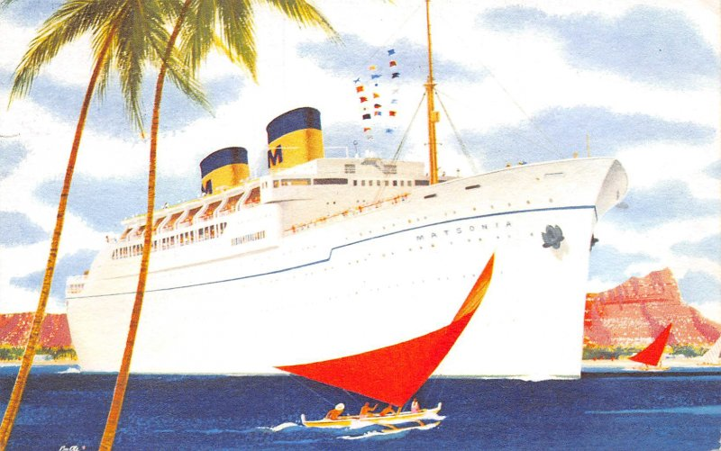 SS Matsonia Ocean Liner Ship Honolulu Hawaii 1962 postcard