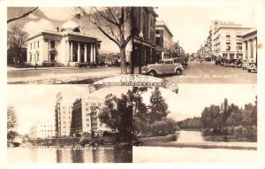 Reno NV Courthouse~Drugstore~Riverside Hotel~River Spillover~RPPC 1930s Cars
