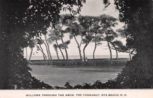 Willows Through the Arch, The Farragut, Rye Beach, N.H., Early Postcard, Unused