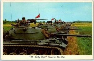 Fort Campbell, Kentucky Postcard M-Forty Eight Tanks on the Line c1950s Army