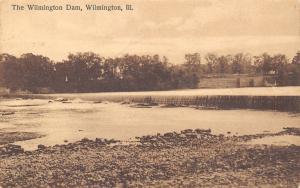 Wilmington IL Sepia Postcard: View of the Dam on the Kankaee River~