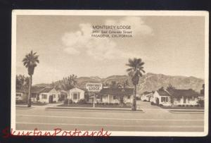PASADENA CALIFORNIA MONTEREY LODGE ROUTE 66 B&W ADVERTISING