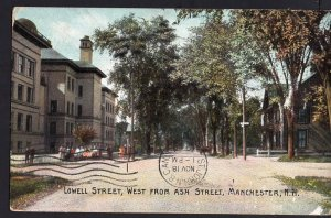 New Hampshire Lowell Street West from Ash St MANCHESTER pm1907 Divided Back