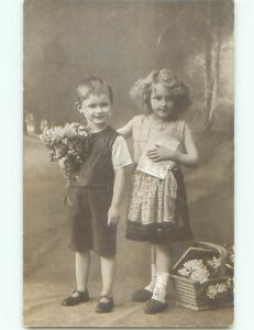 Pre-Linen foreign CUTE GIRL BESIDE ANTIQUE BASKET AND HER BROTHER J4357