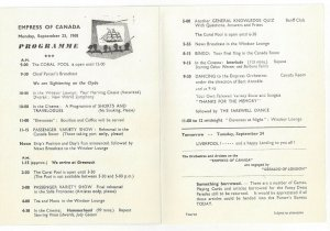 CANADIAN PACIFIC, Empress of Canada, Bi-fold, Programme, 9/23/1968